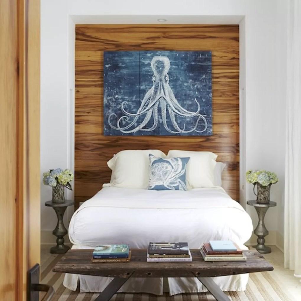 Octopus artwork in bedroom