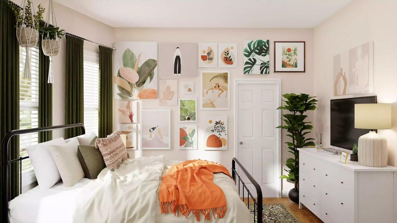 Colorful, maximalist bedroom decor