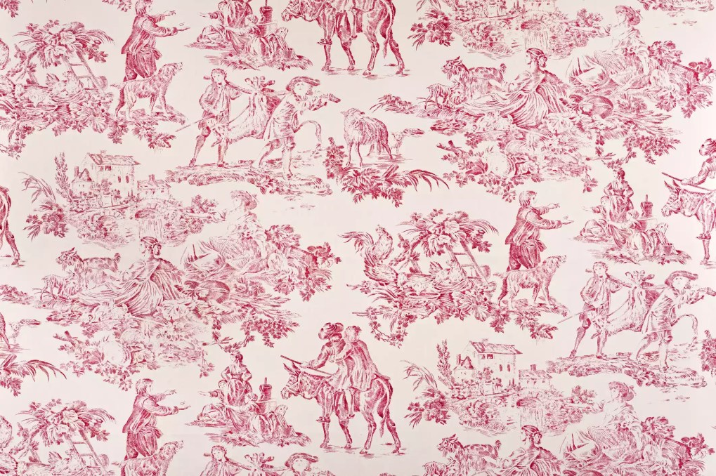 A close-up of red toile.
