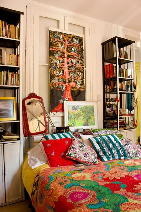 22 Beautiful Boho Bedroom Decorating Ideas Bohemian bedroom with tall bookcases