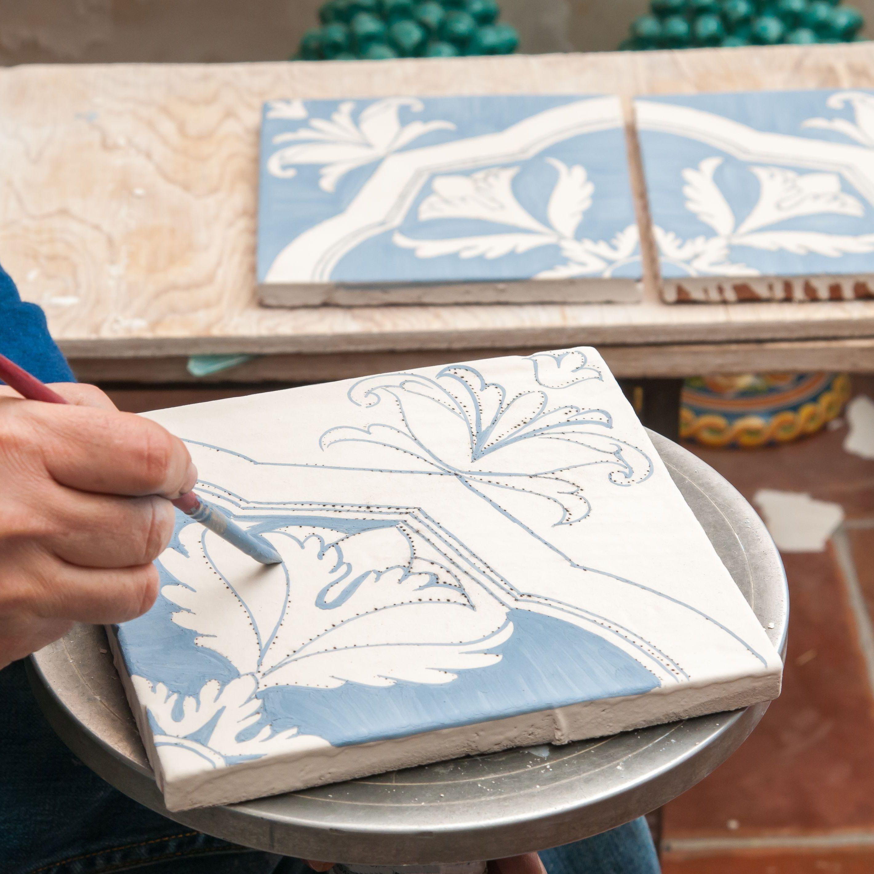 ceramic tile walls and countertops