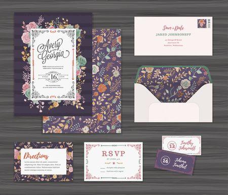 Fl Wedding Invitation Template Set