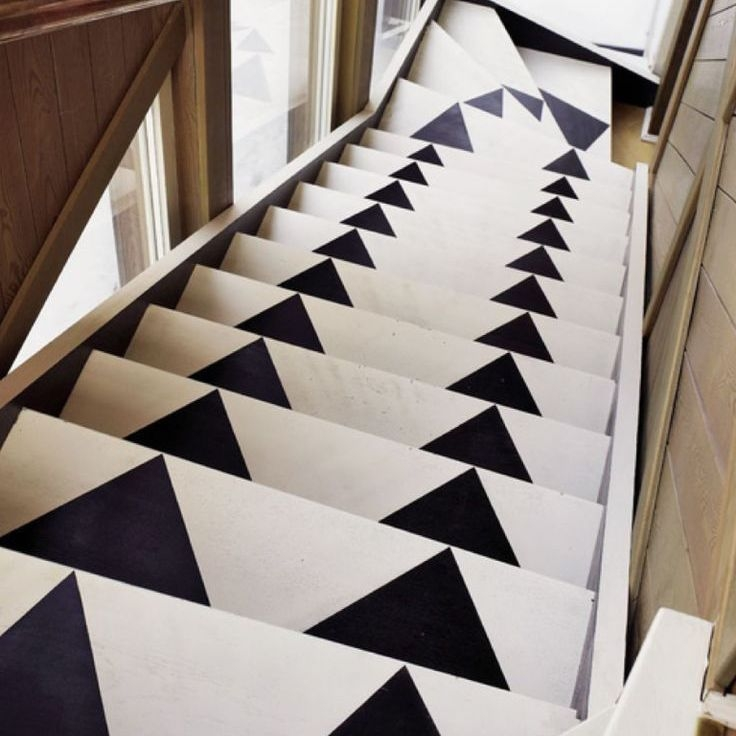 22 Gorgeous Painted Stair Ideas | Black And White Stair Carpet | Entry Hall | Square Pattern | Luxurious | American Style | Small Space