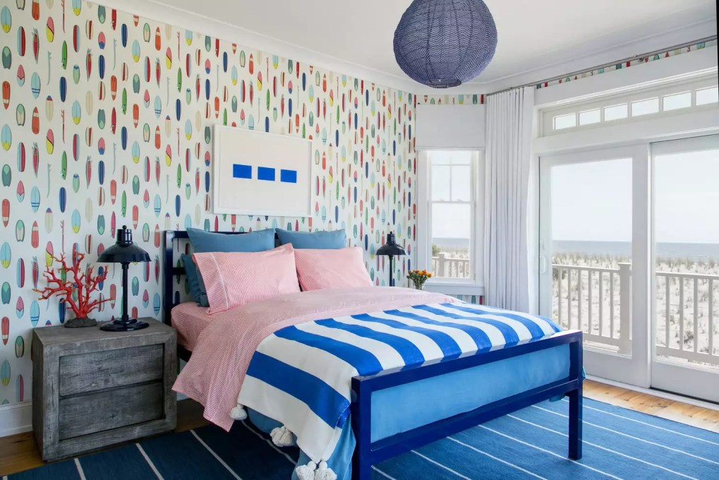 Colorful beach bedroom