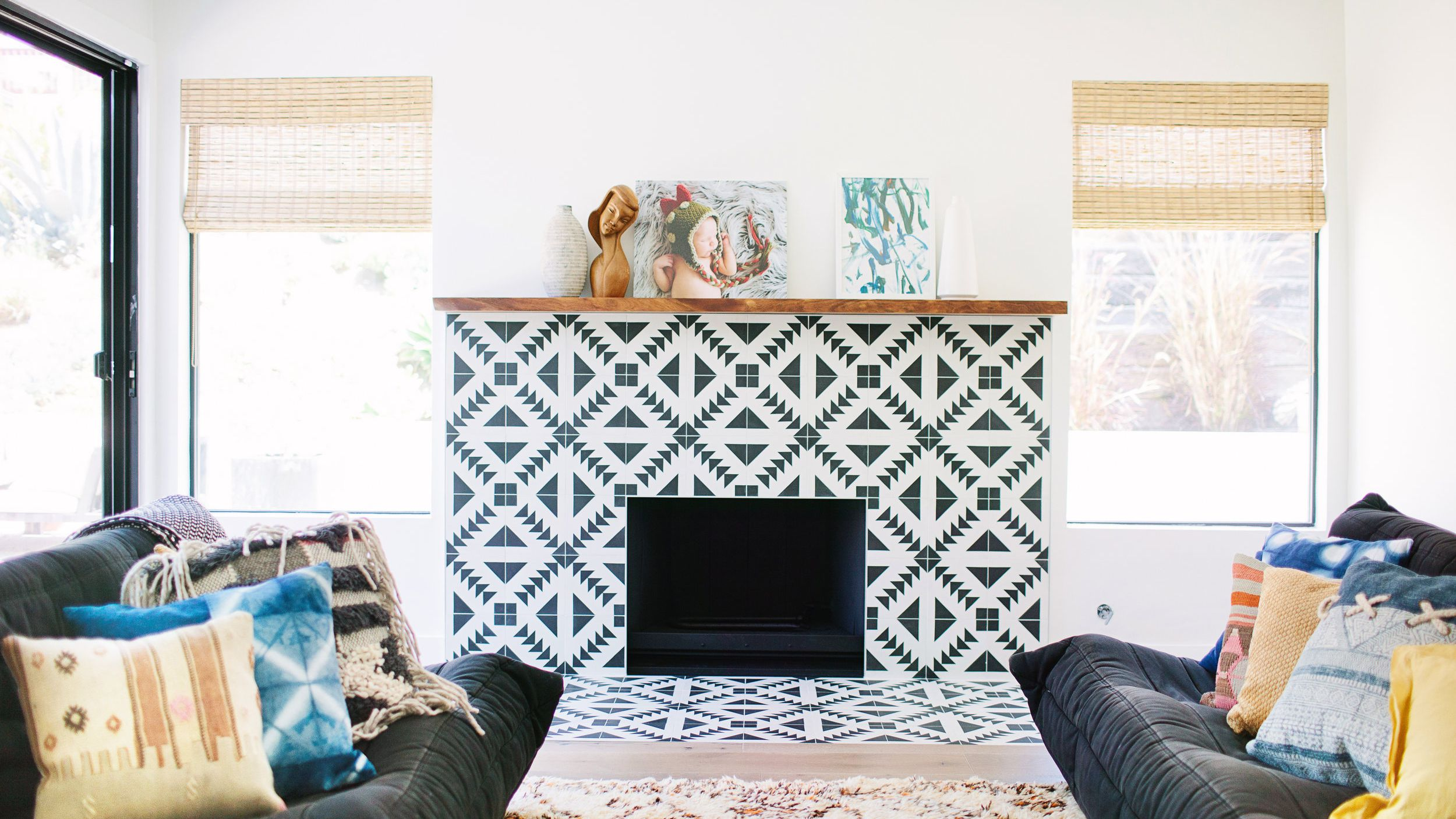 24 beautifully tiled fireplaces