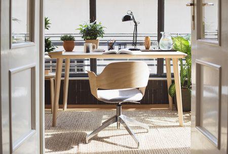 desk in a sunny study