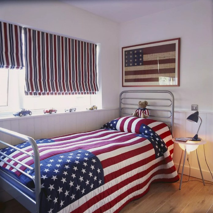 Roman shades in a patriotically-themed boy room