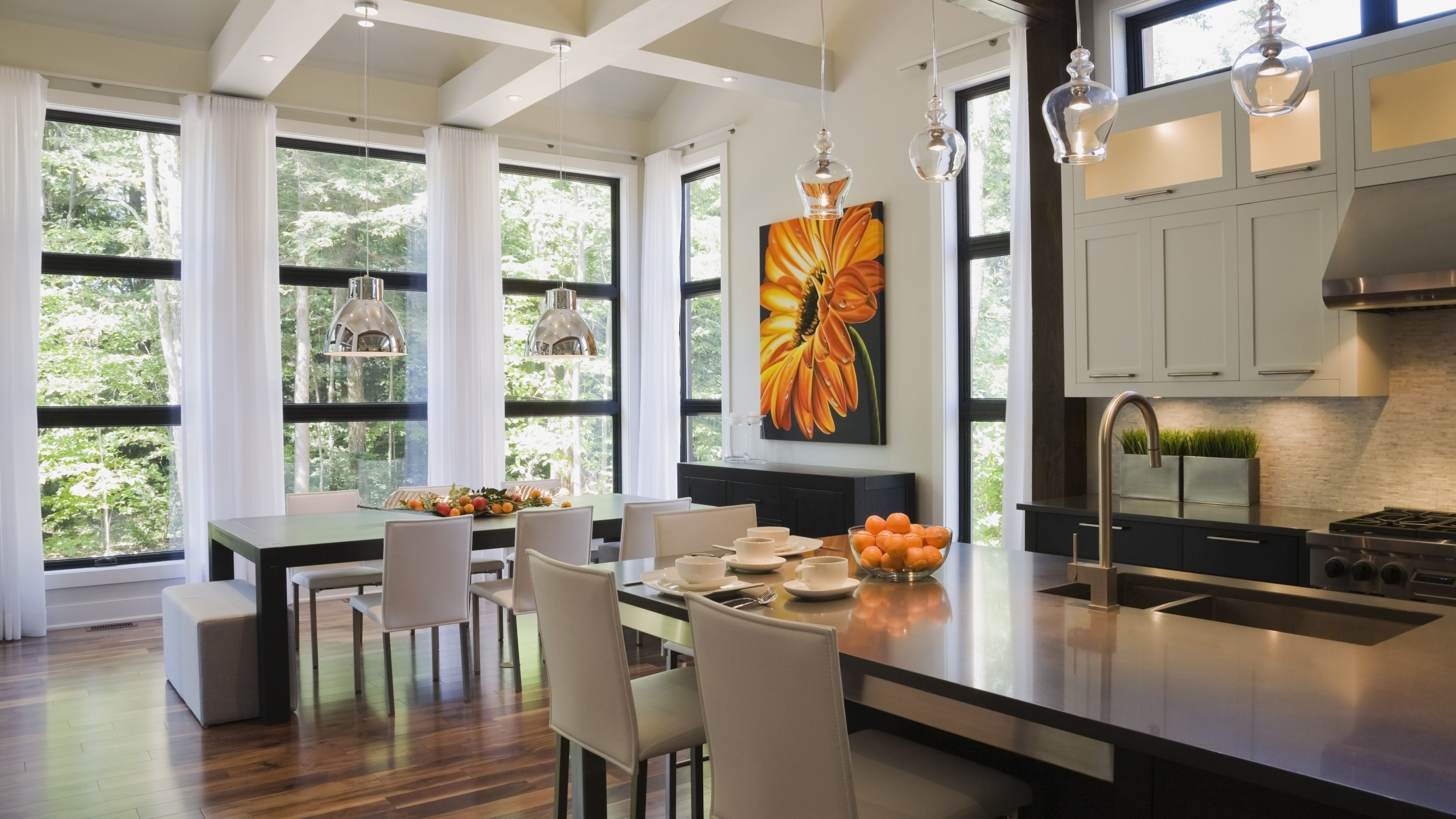 The Open Floor Plan History Pros And Cons   Open Concept With Basement Stairs In Middle Of House   Dining Room   Basement Steps   Basement Remodeling   Stair Case   Kitchen