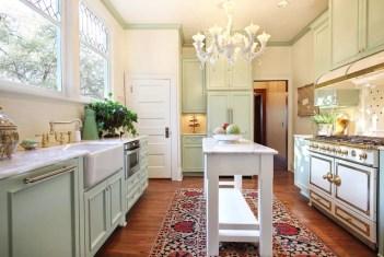 Narrow marble topped kitchen island