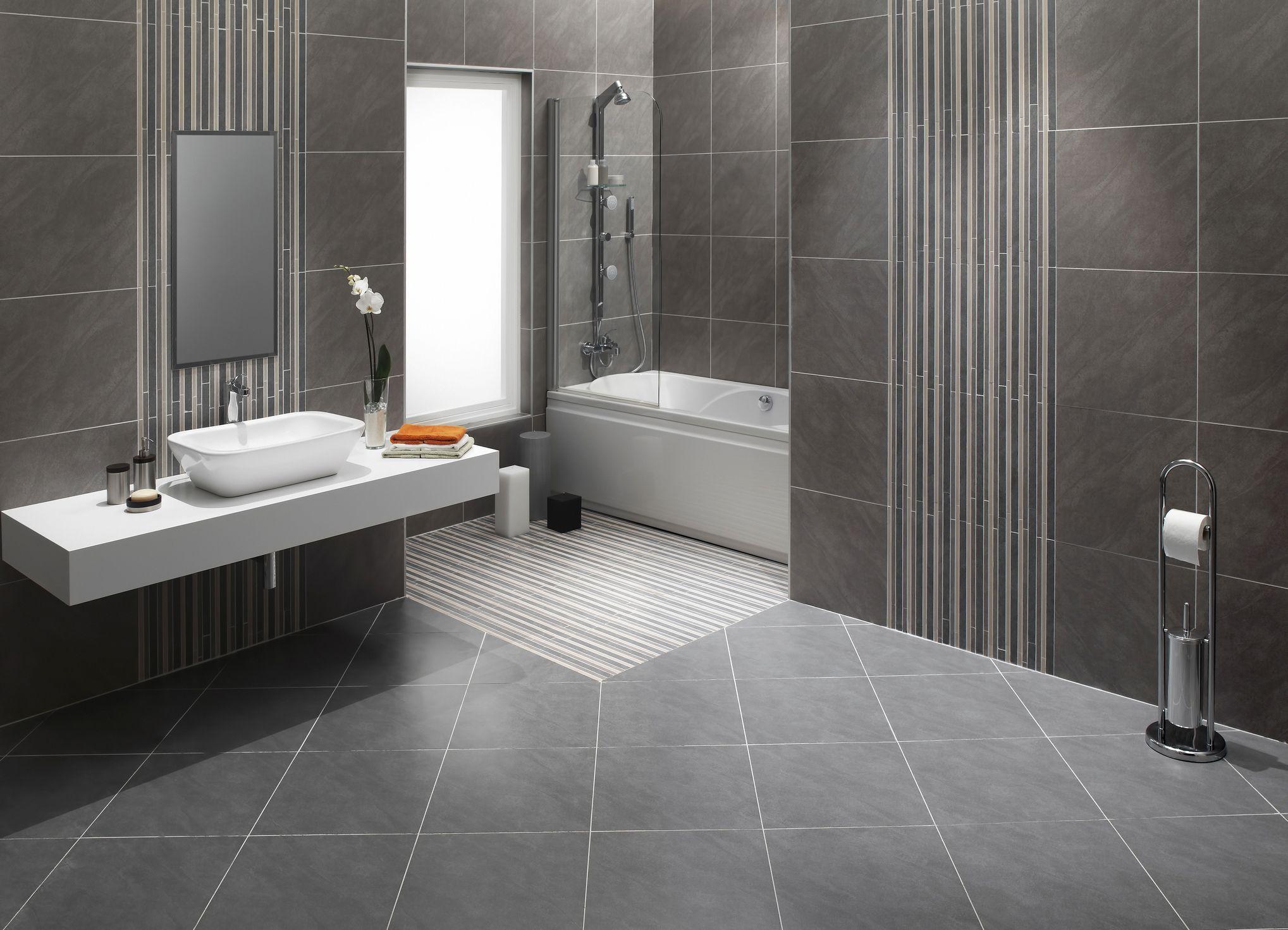 a diagonal tile layout for a bathroom floor