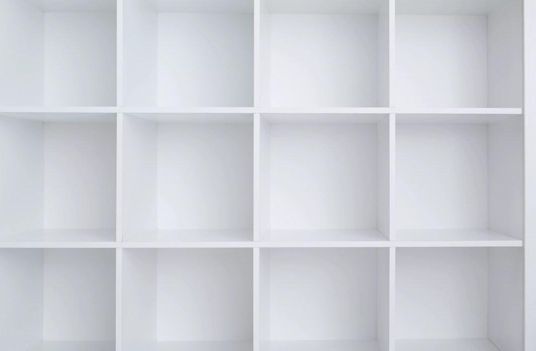 Empty white shelf cabinet