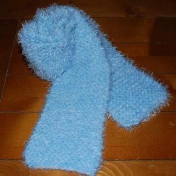 fuzzy garter stitch scarf