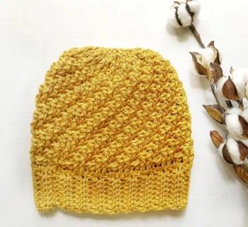 Diagonal Raised Beanie Free Crochet Pattern