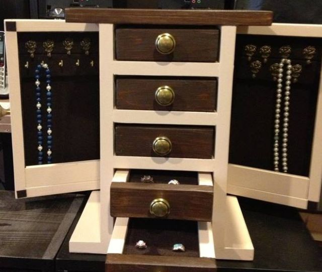 A Brown And White Jewelry Box