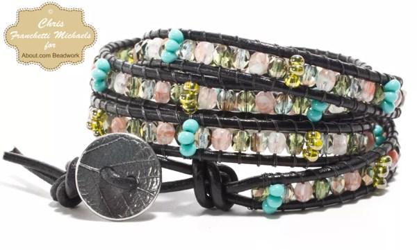 leather wrap bead bracelet instructions