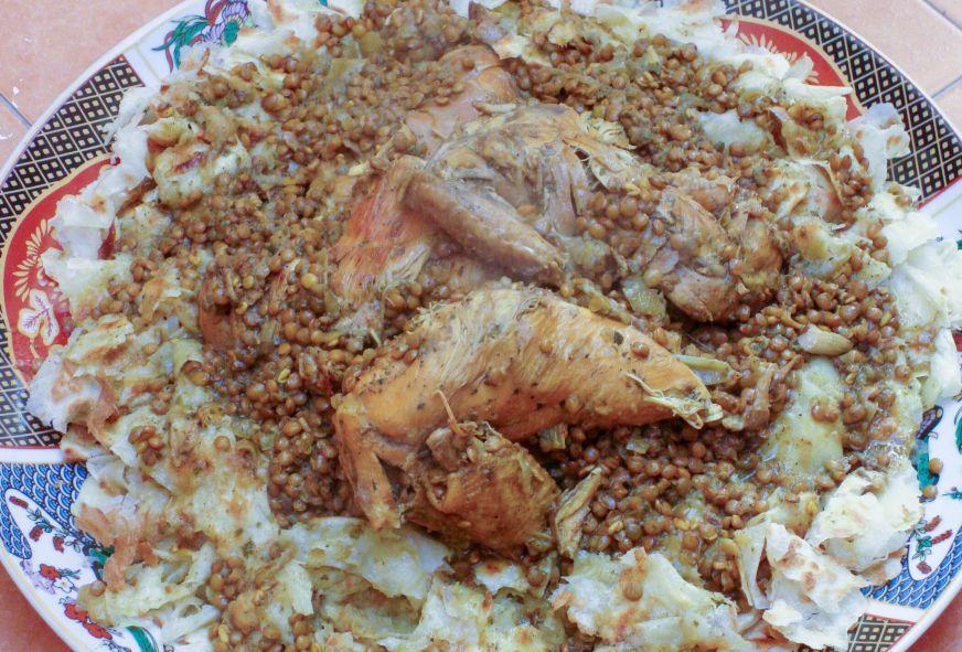 Chicken Rfissa Recipe with Lentils