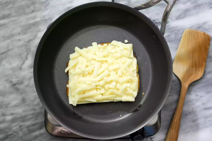 Grilled cheese with mozzarella cheese.