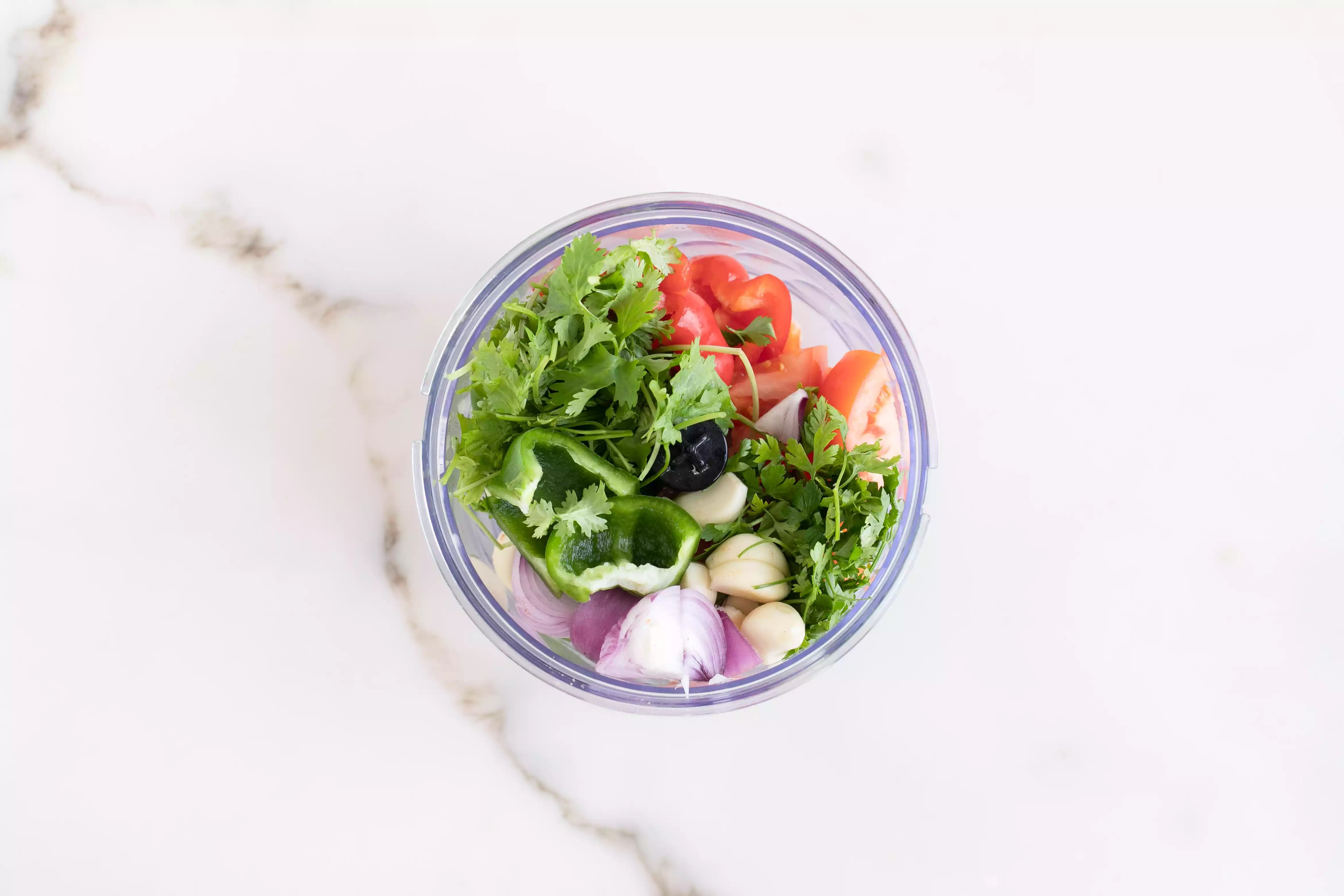 Put chopped ingredients into a blender