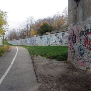 """The contrast of art and nature is a refreshing component of the street art on the Grand River Trail"""