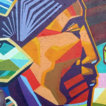 """This is part of the mural across from RCW on Dalhousie St. The geometric colours and shapes accentuate the piece."""