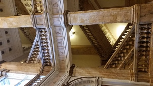 The side stairs may now lead to offices but that doesn't diminish their grandeur.