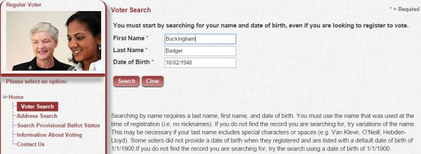 Search your name and birthday to find your voting status.