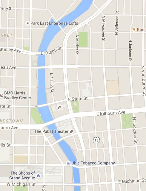 The angled bridges still part of downtown Milwaukee daily life today. Screenshot from Google Maps.