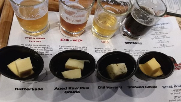 We were lucky enough to come in when they were featuring a flight of four perfectly-paired beers and cheeses.