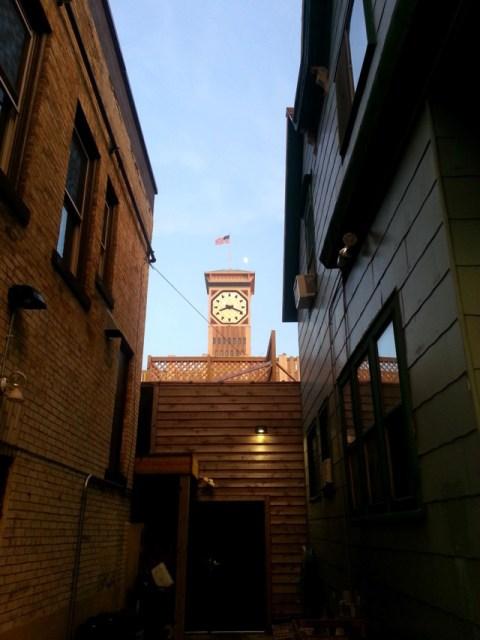 The Allen-Bradley Clock Tower, as seen from Garlic Fest. Photo by Joe Powell.