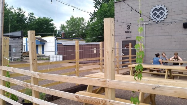 You can drink your fresh beers in their own hop garden.