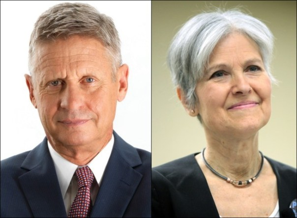 Gary Johnson and Jill Stein. Photos from Wikipedia. Cover image by DonkeyHotey of Flickr.