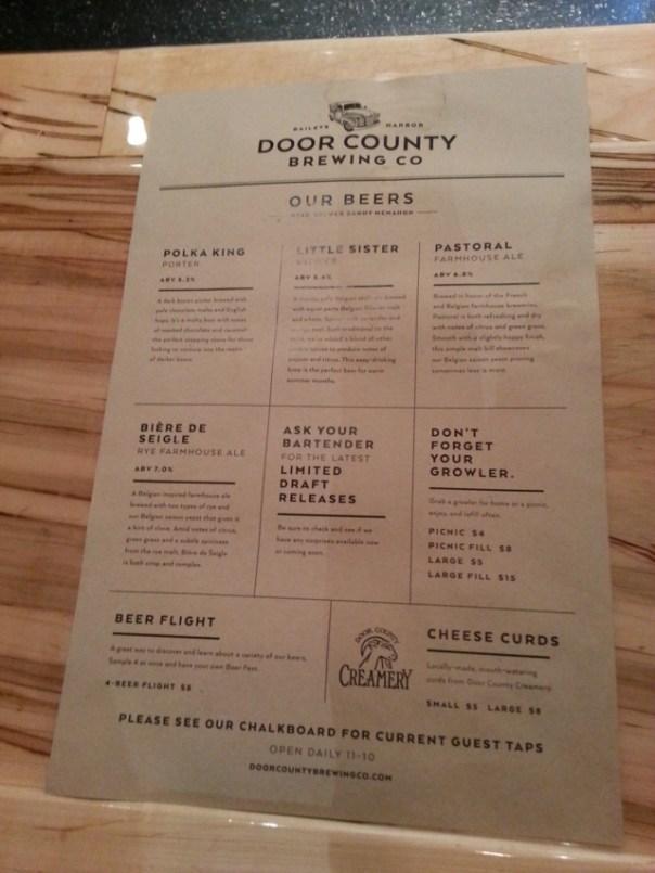 Door County Brewing Company menu