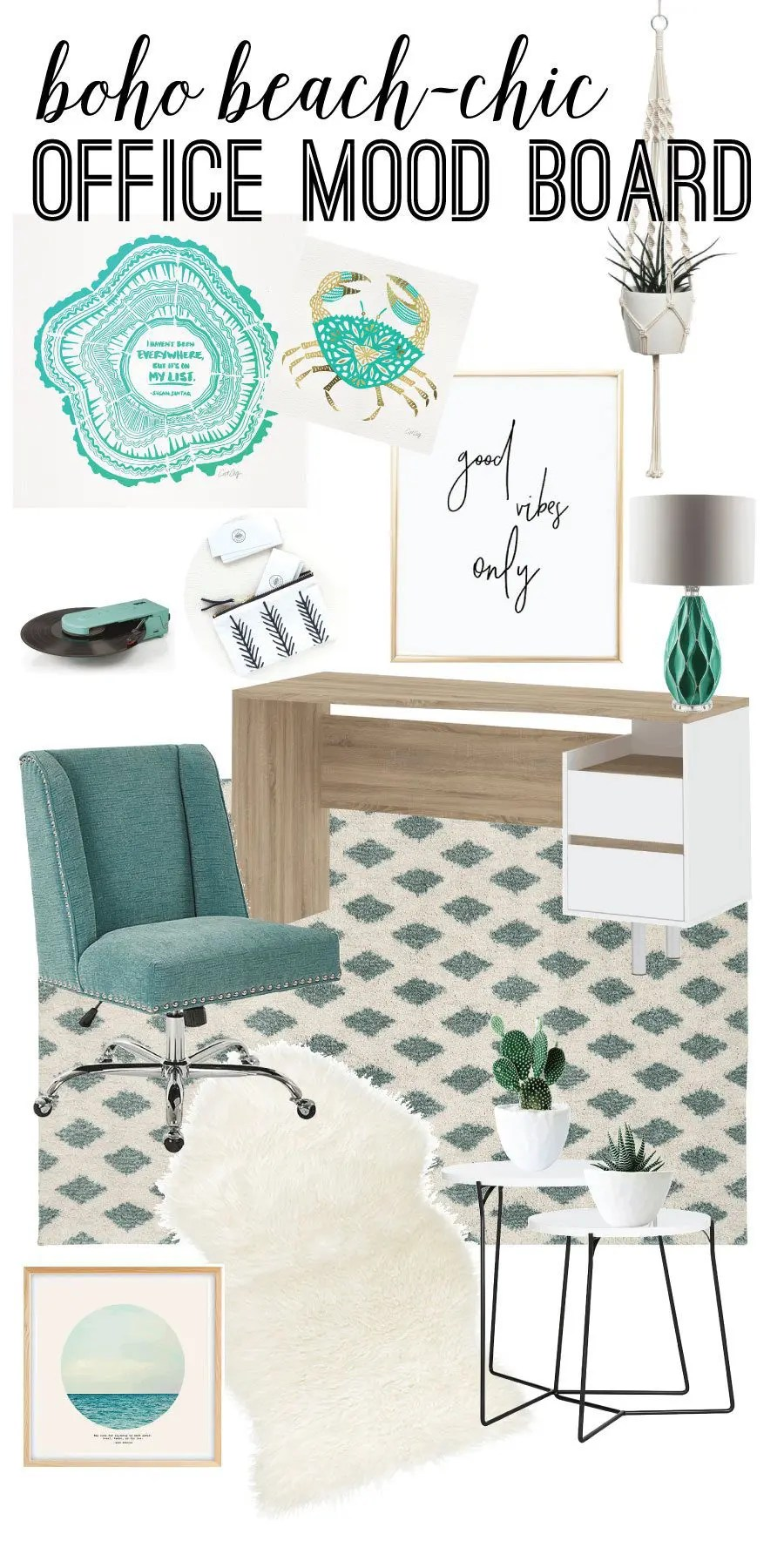 home office mood board pin
