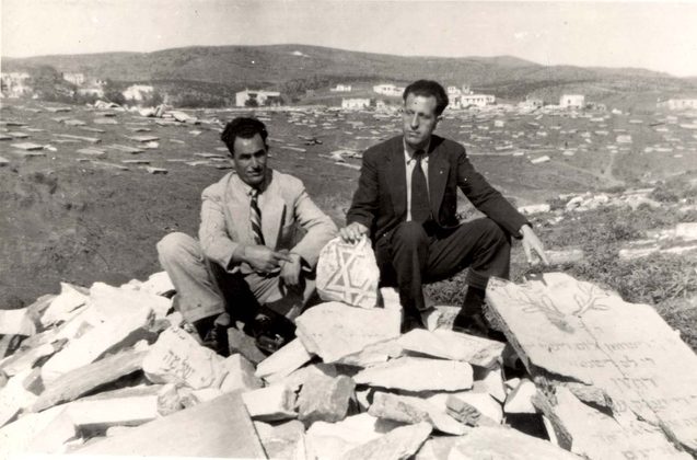 Saloniki, Greece, Two men in the ruined cemetery, 1945.