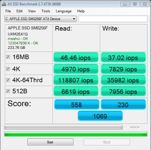 APPLE SSD SM0256 AS SSD IOPS