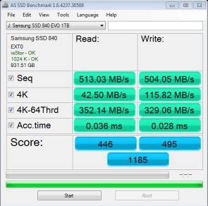 CPU Optimized Samsung 840 EVO 1TB SSD AS SSD Bench