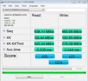 ADATA SP920 Premier Pro 1TB SSD AS SSD Bench