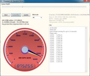 Crucial M550 1TB SSD Anvil 4KQD16 87525 Write IOPS