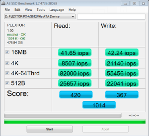 Plextor M6e PXIe 512GB SSD AS SSD IOPS