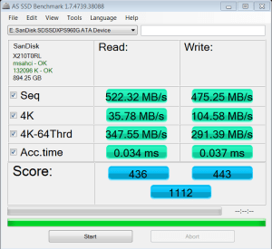 SanDisk Extreme Pro 960GB AS SSD Bench