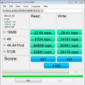 Micron M600 mSATA 256GB AS SSD IOPS