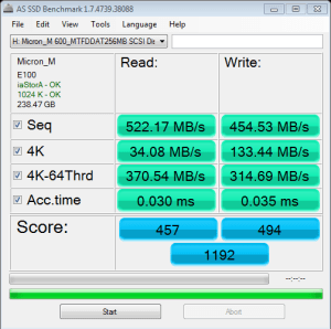 Micron M600 mSATA 256GB AS SSD