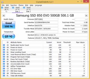 Samsung 850 EVO 500GB Crystal Disk Info