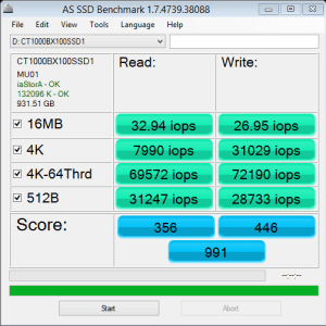 Crucial BX100 1TB AS SSD IOPS