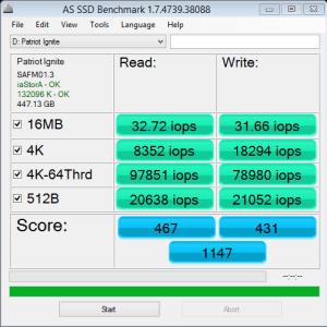 Patriot Ignite 480GB AS SSD IOPS