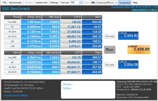 Samsung 850 EVO mSATA 1TB Anvil