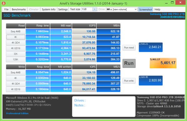 Samsung Pro 2TB SSD Anvil