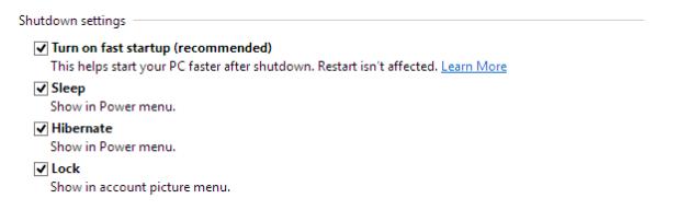 Windows Shutdown Settings