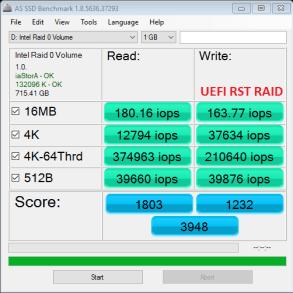 Samsung NVMe RAIDx3 BIOS RST AS SSD IOPS