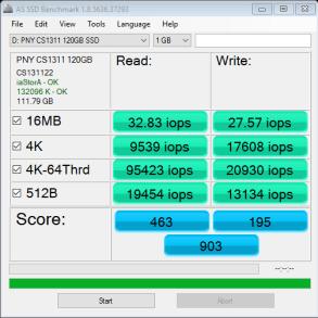 PNY CS1311 SSD 120GB AS SSD IOPS